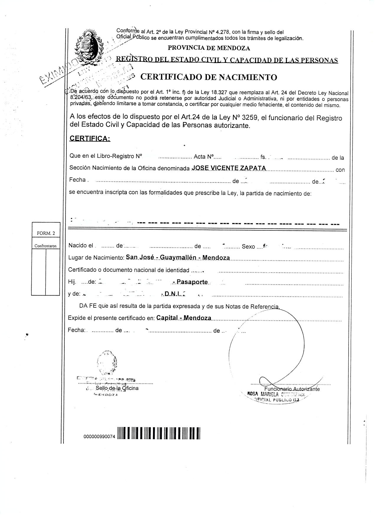birth certificate translation examples spanish english